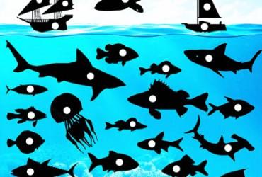 Meer mit vielen Fischen und Haien
