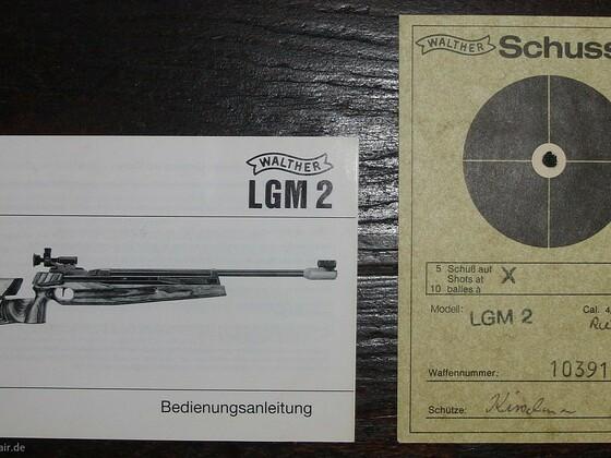 Bedienungsanleitung und Schußbild (Karte) einer LGM2.