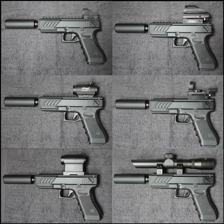 G18C mit Schalldämpfer und unterschiedlichen Zieloptiken