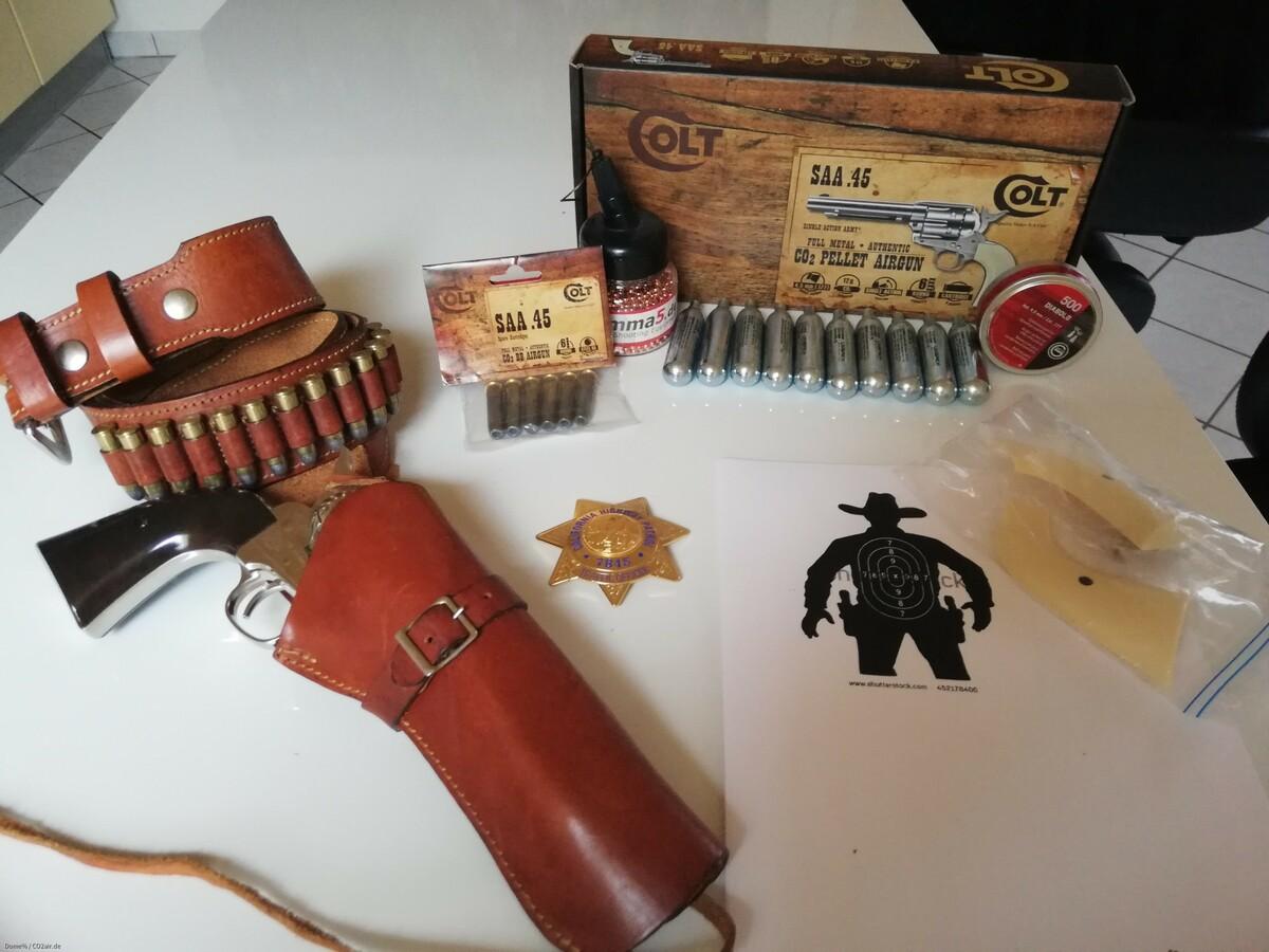 SAA Colt 45 co2 Diabolo + western holster + Zubehör