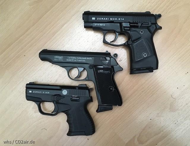 Größenvergleich, Zoraki 914, Zoraki 906, Walther PP