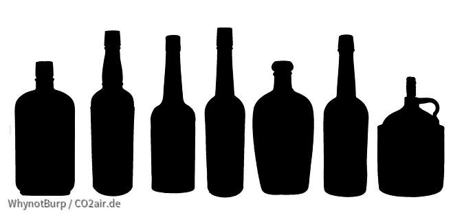 Test Silhouetten antike W-Flaschen