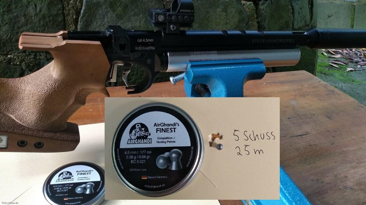 Steyr LP50 mit Airgandi's Finest 5 Schuss 25m
