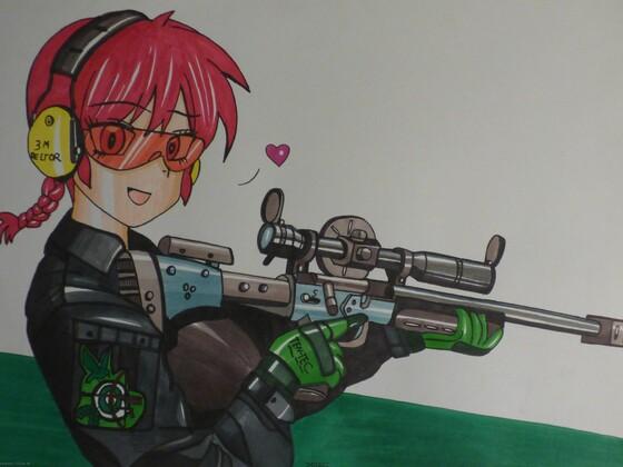 Ranma Chan mit Sportgewehr