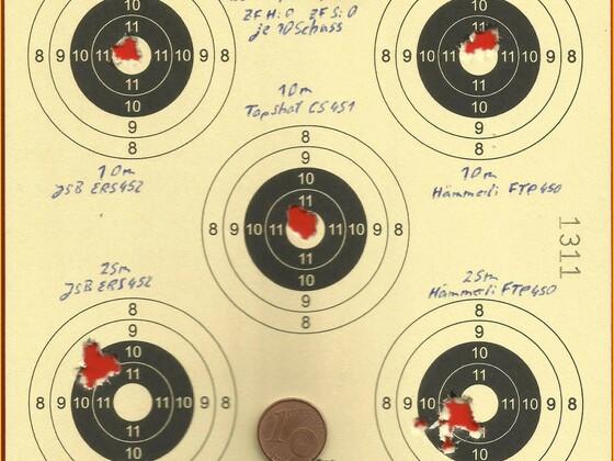 Munitionstest, FWB300S, JSBERS452, Hämmerli FTP450, TopShot CS451, 16.06.2012 (2)