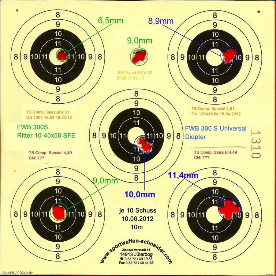 Munitionstest, FWB300S, 10m, JSB ERS452, TS CS449, TS CS451, 10.06.2012 (2)