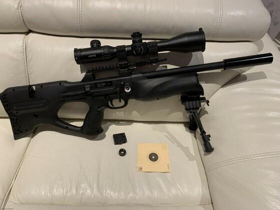 Walther Reign in 5,5mm mit Schussbild auf 35m