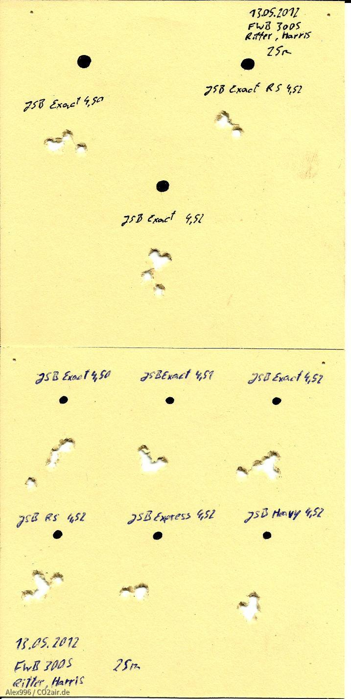 Muntionstest, FWB300S, JSB Fieldtarget, 25m, 13.05.2012 (1)