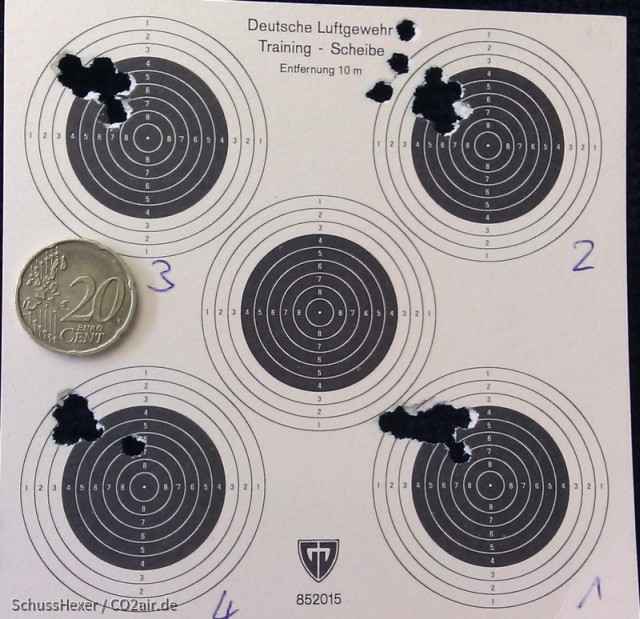 Streukreise Crosman 1377, 8 m, im Sitzen auf Ellenbogen aufgestützt, nicht aufgelegt. 4 x 10 Schuss mit je 5 x Pumpen