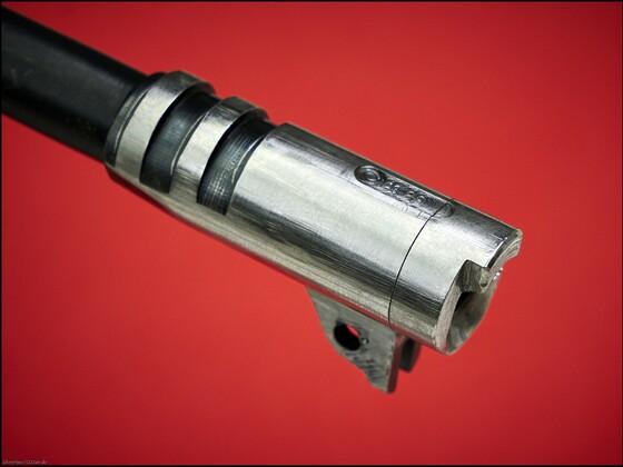 Umgearbeiteter  Colt-Lauf  9mm P.  mit eingepaßtem Patronenlager für Kaliber 38 Spz. WC  aus der RBF Target 38 Spz. WC Pistole