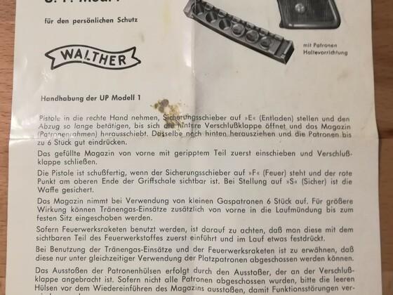 Walther U. P. 1 Bedienungsanleitung