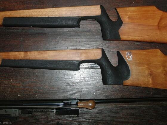 Schaft Walther LGR gebeizt, geschliffen und mit Schaftöl geölt.