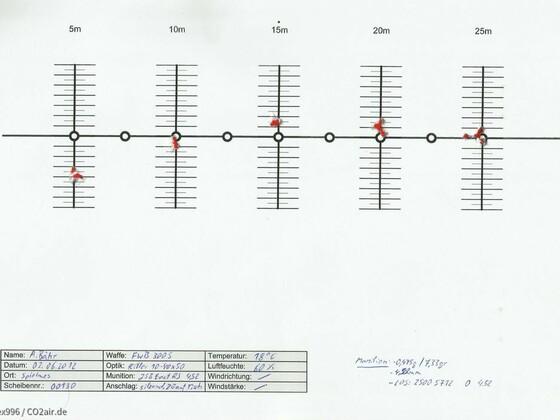 Feinwerkbau 300s, Flugbahnkurve, JSB ExactRS452