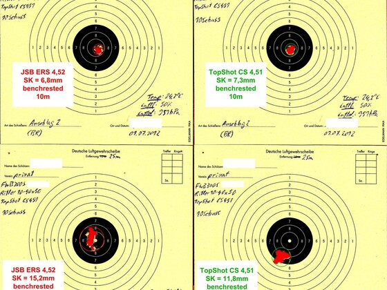 Munitionstest, FWB300S, 10-25m, benchrested, 01.07.2012 (1)