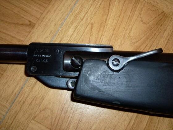 HW55 mit Lochschaft, Laufmantel und Diana ZF. Gewehr und Schussbild